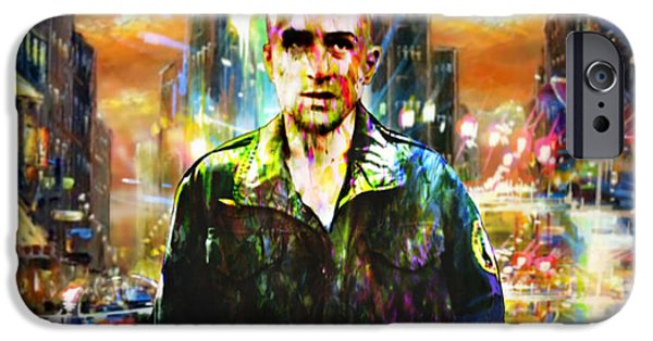 Robert De Niro Digital iPhone Cases - Taxi Driver iPhone Case by Daniele Volpicelli
