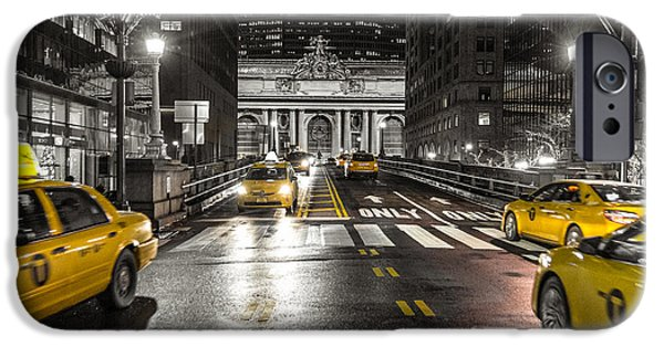 Nyc Pyrography iPhone Cases - Taxis at Grand Central iPhone Case by Mason Pelt