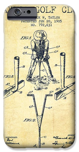Golf Course iPhone Cases - Taylor Golf Club Patent Drawing from 1905 - Vintage iPhone Case by Aged Pixel