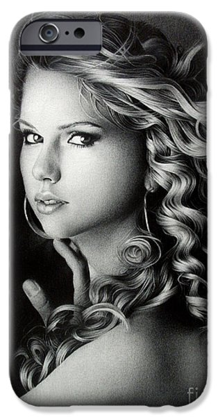 Portraits iPhone Cases - Taylor Swift iPhone Case by Miro Gradinscak