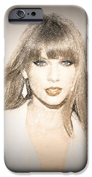 Taylor Swift iPhone Cases - Taylor Swift Sketch iPhone Case by Anibal Diaz
