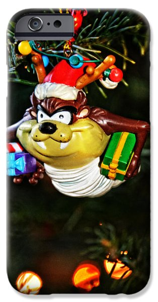 Taz on Christmas Tree iPhone Case by Mike Martin