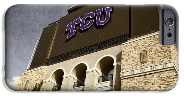 Carter iPhone Cases - TCU Stadium Entrance iPhone Case by Joan Carroll