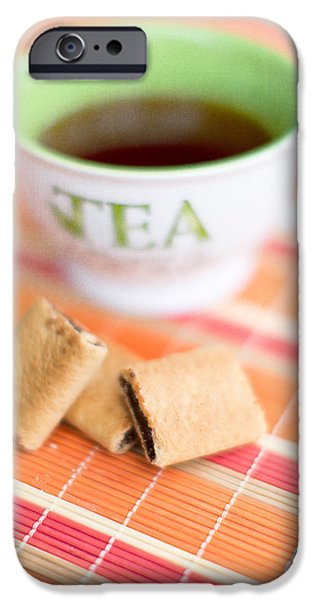 Tea Cup iPhone Cases - Tea and Cookies iPhone Case by Rebecca Cozart