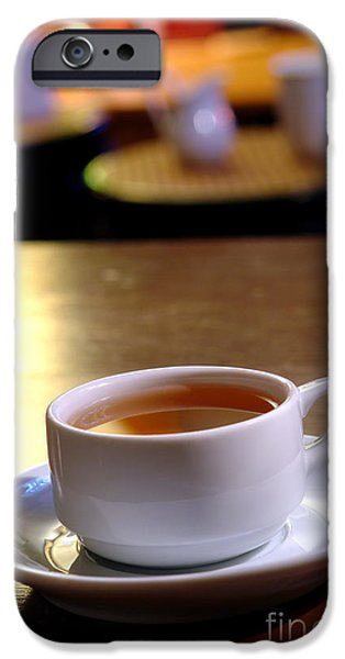 Tea Cup iPhone Cases - Tea at the Shop iPhone Case by Olivier Le Queinec
