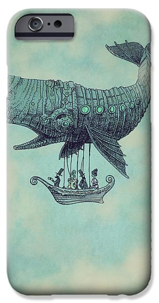Victorian Drawings iPhone Cases - Tea at Two Thousand Feet iPhone Case by Eric Fan