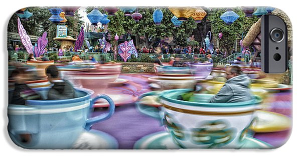 Mad Hatter Digital Art iPhone Cases - Tea Cup Ride Fantasyland Disneyland iPhone Case by Thomas Woolworth