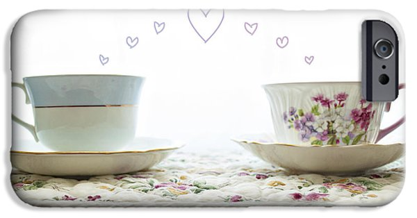 Tea Party iPhone Cases - Tea Cups Love iPhone Case by Claire Carpenter
