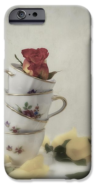 Tea Cup iPhone Cases - Tea Cups With Rose iPhone Case by Joana Kruse