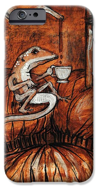 Animal Drawings iPhone Cases - Tea for Anoles iPhone Case by Kelly Walters