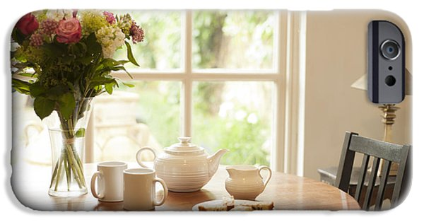 Interior Scene iPhone Cases - Tea for Two iPhone Case by Anne Gilbert