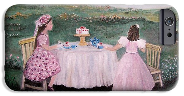 Tea Party iPhone Cases - Tea for Two iPhone Case by Rhonda Lee