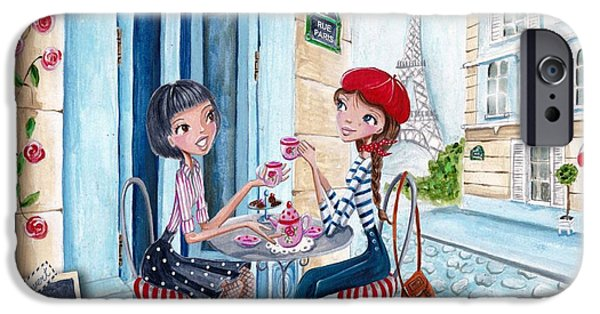 Tea Party Mixed Media iPhone Cases - Tea in Paris iPhone Case by Caroline Bonne-Muller