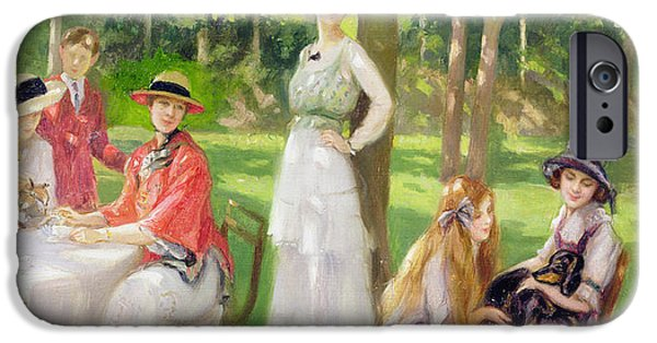 Tea Party iPhone Cases - Tea in the Garden iPhone Case by Jules Cayron