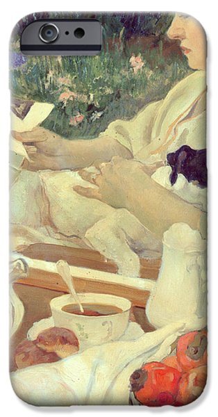 Al Fresco iPhone Cases - Tea in the Garden iPhone Case by Leon Georges Carre