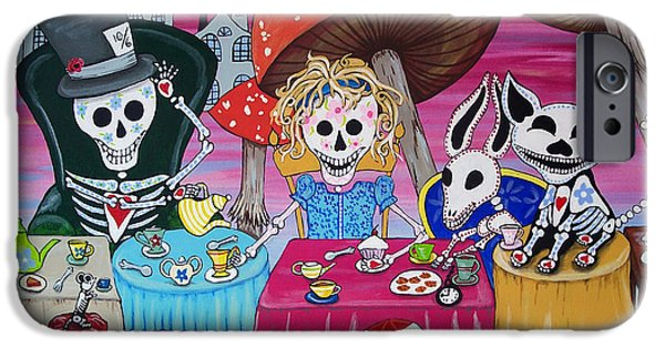 Best Sellers -  - Mad Hatter iPhone Cases - Tea Party Day of the Dead Alice in Wonderland iPhone Case by Julie Ellison
