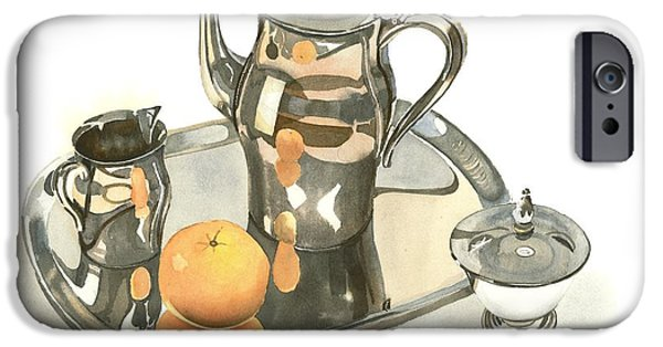 Stainless Steel Paintings iPhone Cases - Tea Service with Orange Dramatic iPhone Case by Kip DeVore