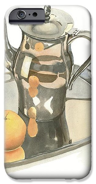 Tea Service with Orange iPhone Case by Kip DeVore