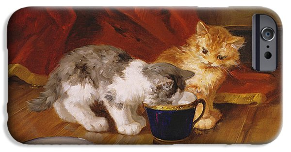 Kittens iPhone Cases - Tea-time iPhone Case by Alphonse Marie de Neuville