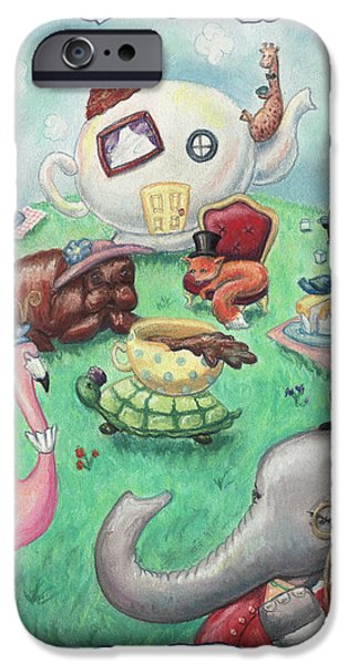 Tea Party Pastels iPhone Cases - Tea Time iPhone Case by Athena Lutton
