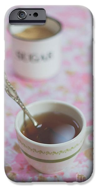 Tea Party iPhone Cases - Tea Time in Pink iPhone Case by Bethany Helzer