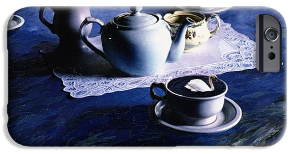 Swans... iPhone Cases - Tea Time With Gordy, 1998 Paper Mosaic Collage iPhone Case by Ellen Golla