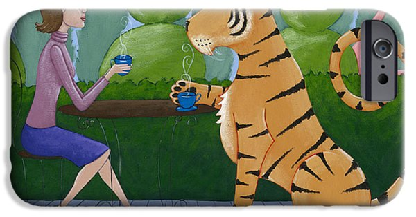 Animal Drawings iPhone Cases - Tea with a Tiger iPhone Case by Christy Beckwith