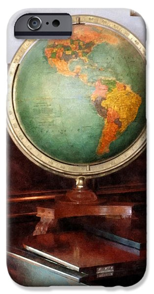 Teacher - Globe on Piano iPhone Case by Susan Savad