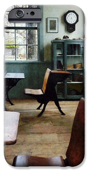 Teacher - One Room Schoolhouse With Clock iPhone Case by Susan Savad