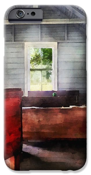 Teacher - One Room Schoolhouse with Hurricane Lamp iPhone Case by Susan Savad
