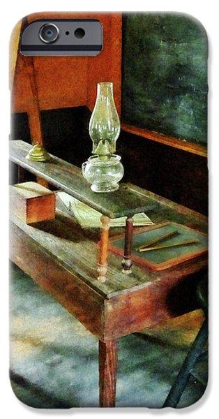 Hurricane Lamps iPhone Cases - Teacher - Teachers Desk With Hurricane Lamp iPhone Case by Susan Savad
