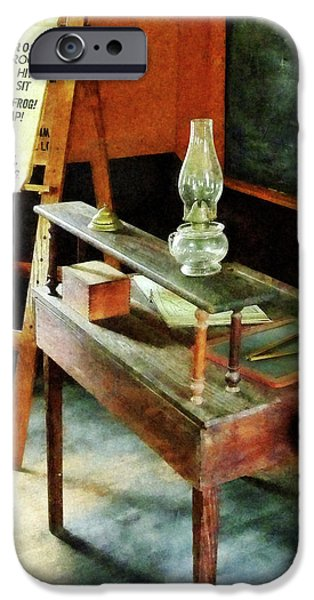 Hurricane Lamp iPhone Cases - Teacher - Teachers Desk With Hurricane Lamp iPhone Case by Susan Savad
