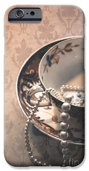 Beads iPhone Cases - Teacup and Pearls iPhone Case by Jan Bickerton
