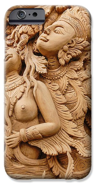 Buddhist Pyrography iPhone Cases - Teak wood carving Door in Chiangmai Thailand iPhone Case by Phittavas Phupakdee
