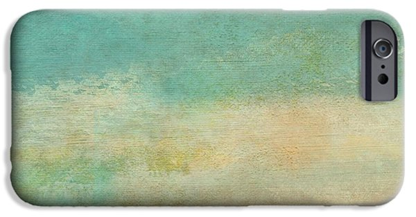 Becky Digital Art iPhone Cases - Teal Aqua Grunge Texture iPhone Case by Becky Hayes