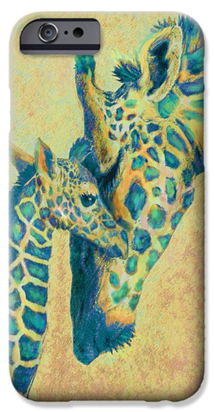 Giraffe Digital iPhone Cases - Teal Giraffes iPhone Case by Jane Schnetlage