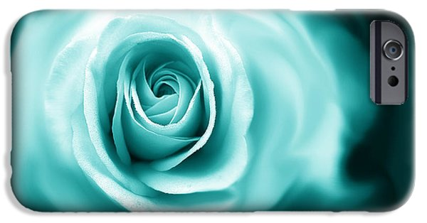 Green Rose iPhone Cases - Teal Rose Flower Abstract iPhone Case by Jennie Marie Schell