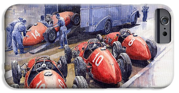 Cars iPhone Cases - Team Ferrari 500 F2 1952 French GP iPhone Case by Yuriy  Shevchuk