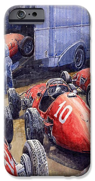 Team Ferrari 500 F2 1952 French GP iPhone Case by Yuriy  Shevchuk