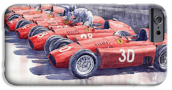Sport Paintings iPhone Cases - Team Lancia Ferrari D50 type C 1956 Italian GP iPhone Case by Yuriy  Shevchuk