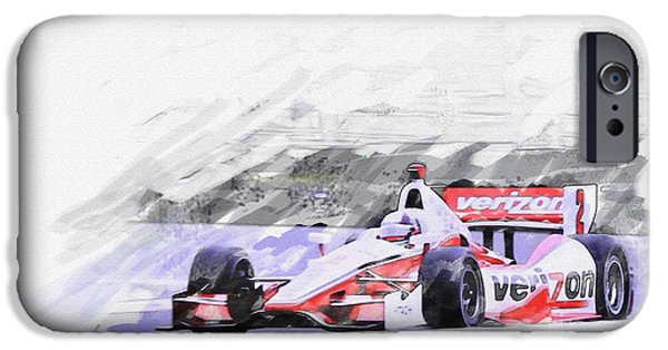 Indy Car Digital iPhone Cases - Team Penske Dallara Chevrolet Indy Car  iPhone Case by Roger Lighterness