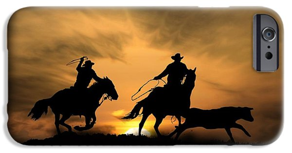 Roping Horse iPhone Cases - Team Work iPhone Case by Stephanie Laird