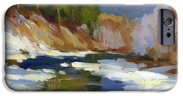 Snow Scene iPhone Cases - Teanaway River iPhone Case by Diane McClary