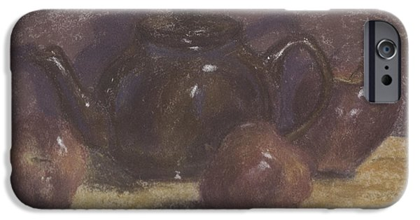 Interior Still Life Pastels iPhone Cases - Teapot and Apples iPhone Case by Claudia Cox
