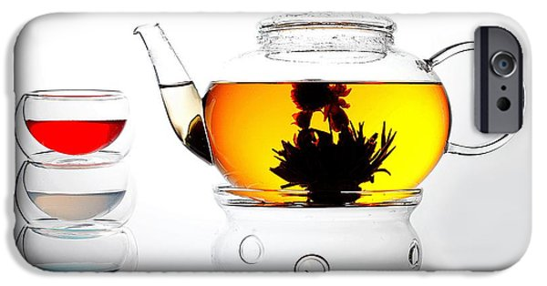 Glass Glass Art iPhone Cases - Teapot and Colorful Cups Liquid Art iPhone Case by Paul Ge