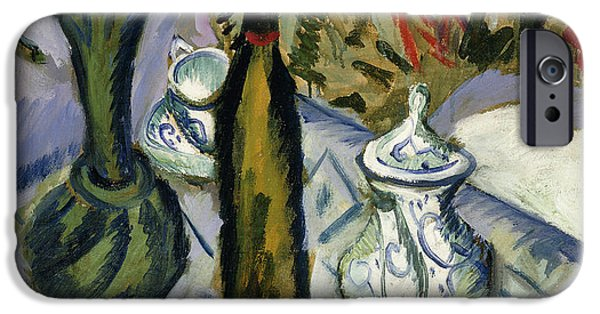 Twentieth Century iPhone Cases - Teapot Bottle and Red Flowers iPhone Case by Ernst Ludwig Kirchner