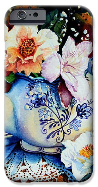 Flower Of Life iPhone Cases - Teapot Posies And Lace iPhone Case by Hanne Lore Koehler