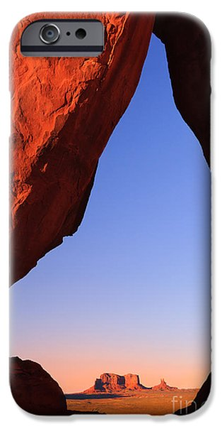 United iPhone Cases - Teardrop Arch in Monument Valley iPhone Case by Henk Meijer Photography