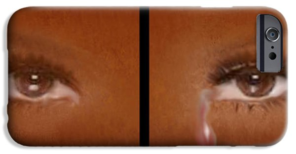 Torn iPhone Cases - Tearful Eyes iPhone Case by Sannel Larson