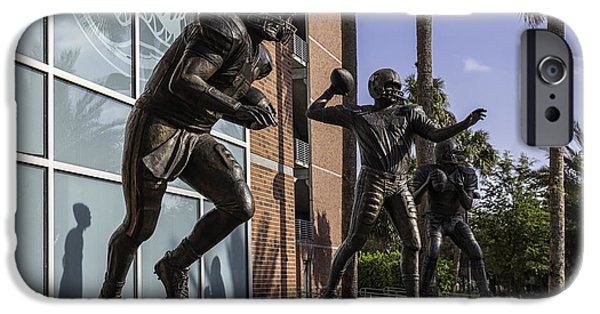 Tebow iPhone Cases - Tebow Spurrier and Wuerffel UF Heisman Winners iPhone Case by Lynn Palmer